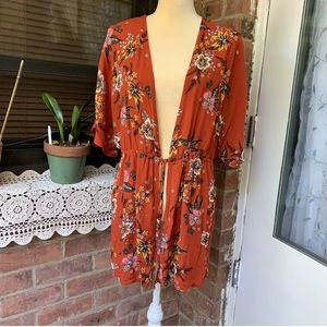 No Boundaries Women's SzM 7-9 Rust Floral Cardigan
